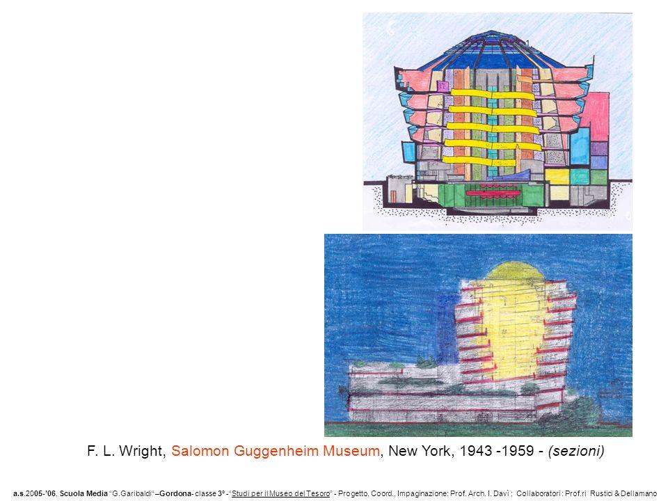 F. L. Wright, Salomon Guggenheim Museum, New York, 1943 -1959 - (sezioni)