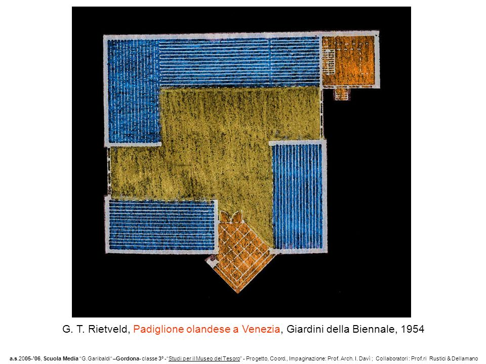 G. T. Rietveld, Padiglione olandese a Venezia, Giardini della Biennale, 1954 a.s.2005-06, Scuola Media G.Garibaldi –Gordona- classe 3° -Studi per il M