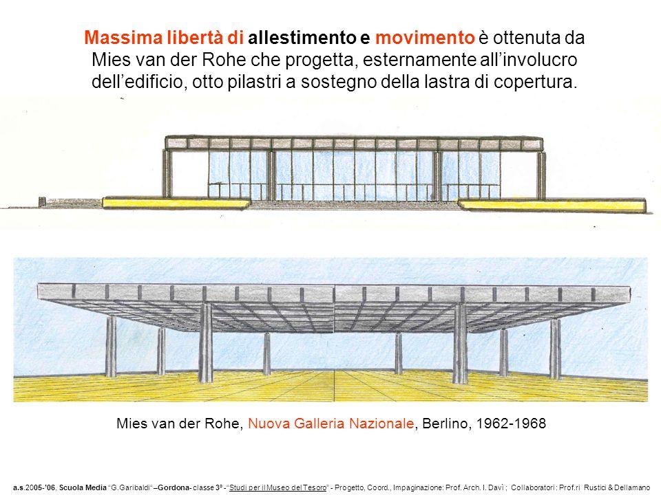Massima libertà di allestimento e movimento è ottenuta da Mies van der Rohe che progetta, esternamente allinvolucro delledificio, otto pilastri a sost