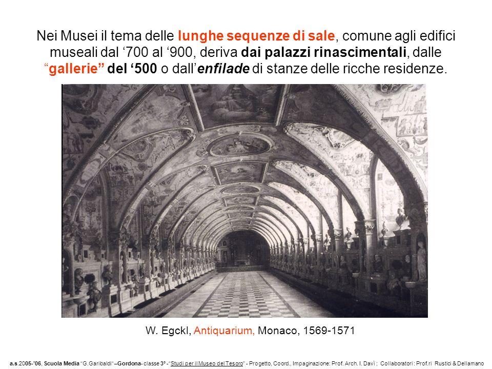 Nei Musei il tema delle lunghe sequenze di sale, comune agli edifici museali dal 700 al 900, deriva dai palazzi rinascimentali, dallegallerie del 500