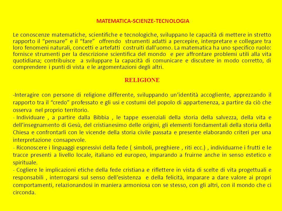 MATEMATICA-SCIENZE-TECNOLOGIA Le conoscenze matematiche, scientifiche e tecnologiche, sviluppano le capacità di mettere in stretto rapporto il pensare
