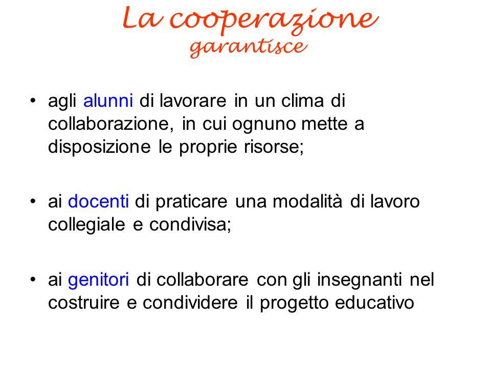 La cooperazione garantisce agli alunni di lavorare in un clima di collaborazione, in cui ognuno mette a disposizione le proprie risorse; ai docenti di