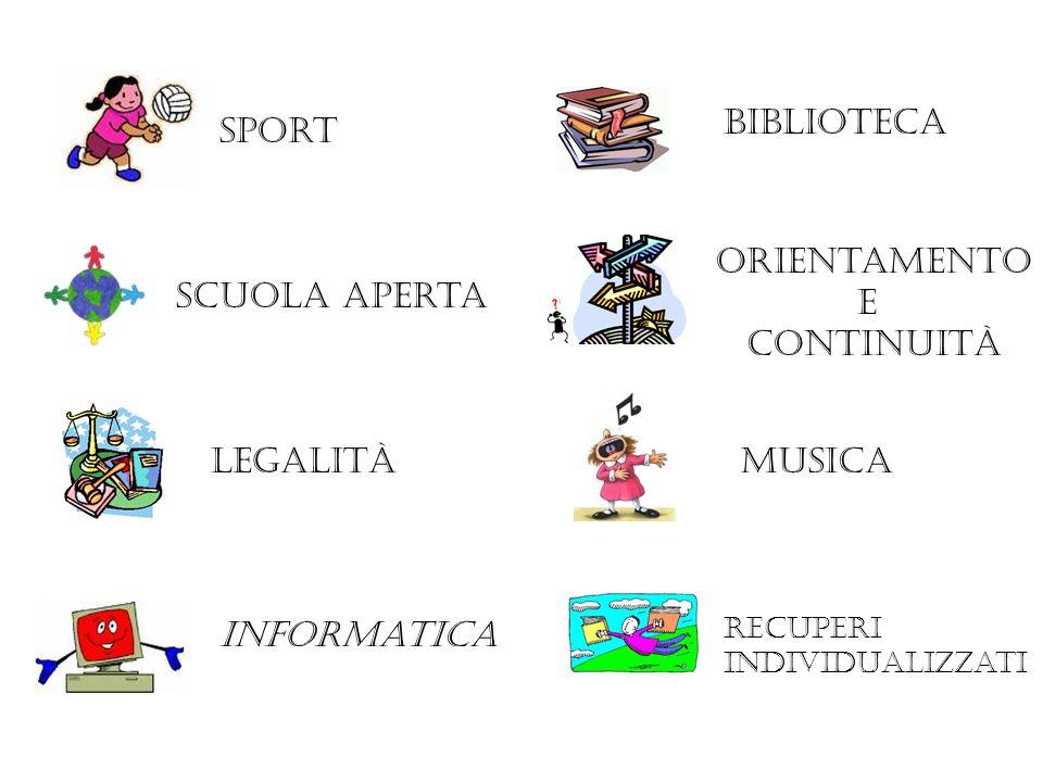 sport legalità Scuola aperta biblioteca Orientamento E continuità musica Informatica Recuperi individualizzati