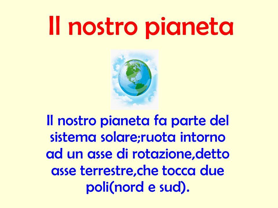 Il nostro pianeta Il nostro pianeta fa parte del sistema solare;ruota intorno ad un asse di rotazione,detto asse terrestre,che tocca due poli(nord e s
