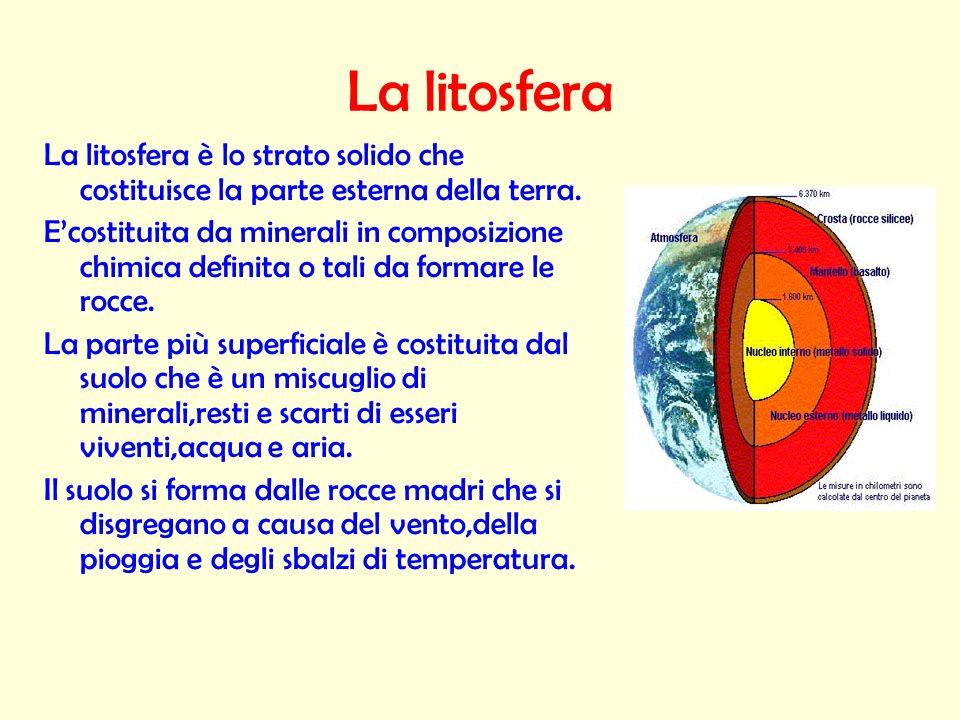 La litosfera La litosfera è lo strato solido che costituisce la parte esterna della terra. Ecostituita da minerali in composizione chimica definita o