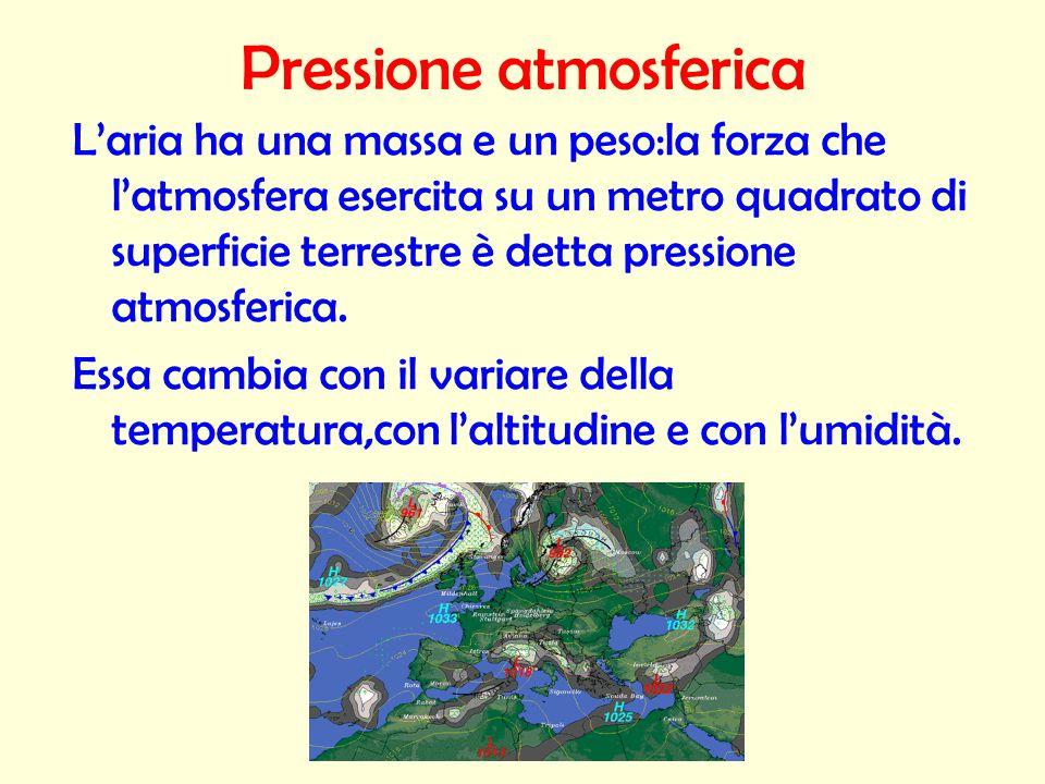 Pressione atmosferica Laria ha una massa e un peso:la forza che latmosfera esercita su un metro quadrato di superficie terrestre è detta pressione atm