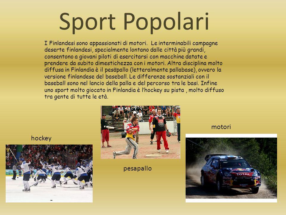 Sport Popolari I Finlandesi sono appassionati di motori. Le interminabili campagne deserte finlandesi, specialmente lontano dalle città più grandi, co