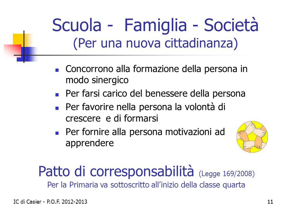 IC di Casier - P.O.F. 2012-2013 11 Scuola - Famiglia - Società (Per una nuova cittadinanza) Concorrono alla formazione della persona in modo sinergico