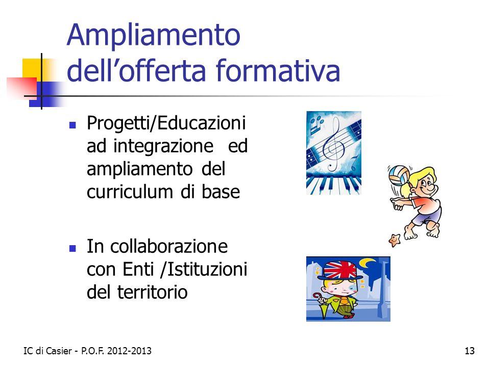 IC di Casier - P.O.F. 2012-2013 13 Ampliamento dellofferta formativa Progetti/Educazioni ad integrazione ed ampliamento del curriculum di base In coll
