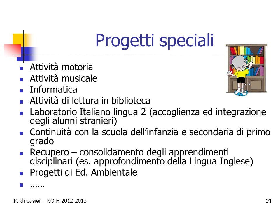 IC di Casier - P.O.F. 2012-2013 14 Progetti speciali Attività motoria Attività musicale Informatica Attività di lettura in biblioteca Laboratorio Ital