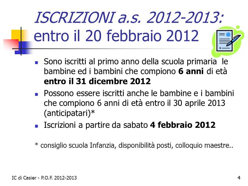 IC di Casier - P.O.F. 2012-2013 44 ISCRIZIONI a.s. 2012-2013: entro il 20 febbraio 2012 Sono iscritti al primo anno della scuola primaria le bambine e