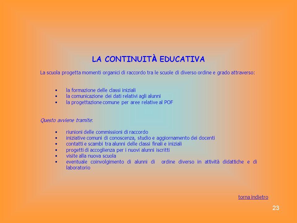 23 LA CONTINUIT À EDUCATIVA La scuola progetta momenti organici di raccordo tra le scuole di diverso ordine e grado attraverso: la formazione delle cl