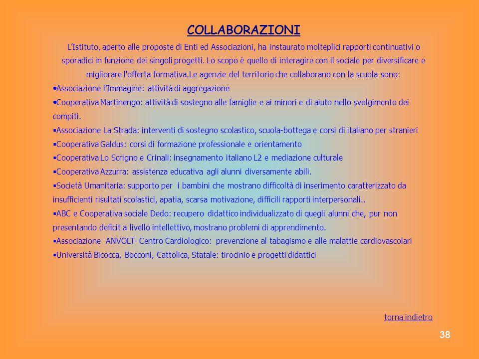 38 COLLABORAZIONI LIstituto, aperto alle proposte di Enti ed Associazioni, ha instaurato molteplici rapporti continuativi o sporadici in funzione dei