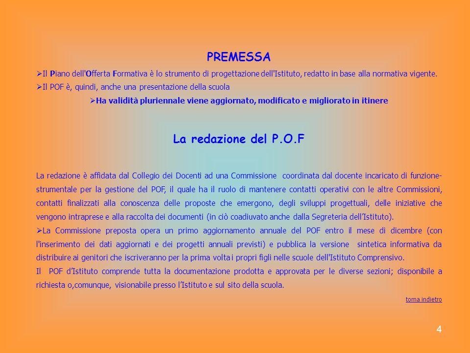 4 PREMESSA Il Piano dell'Offerta Formativa è lo strumento di progettazione dell'Istituto, redatto in base alla normativa vigente. Il POF è, quindi, an