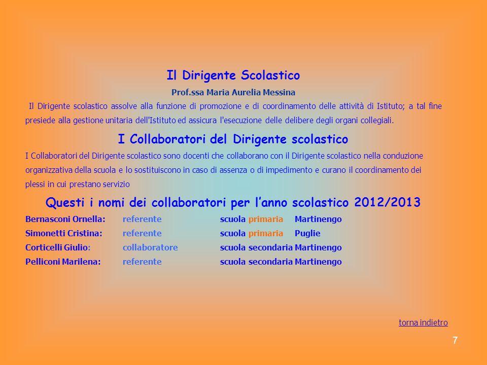 7 Il Dirigente Scolastico Prof.ssa Maria Aurelia Messina Il Dirigente scolastico assolve alla funzione di promozione e di coordinamento delle attività