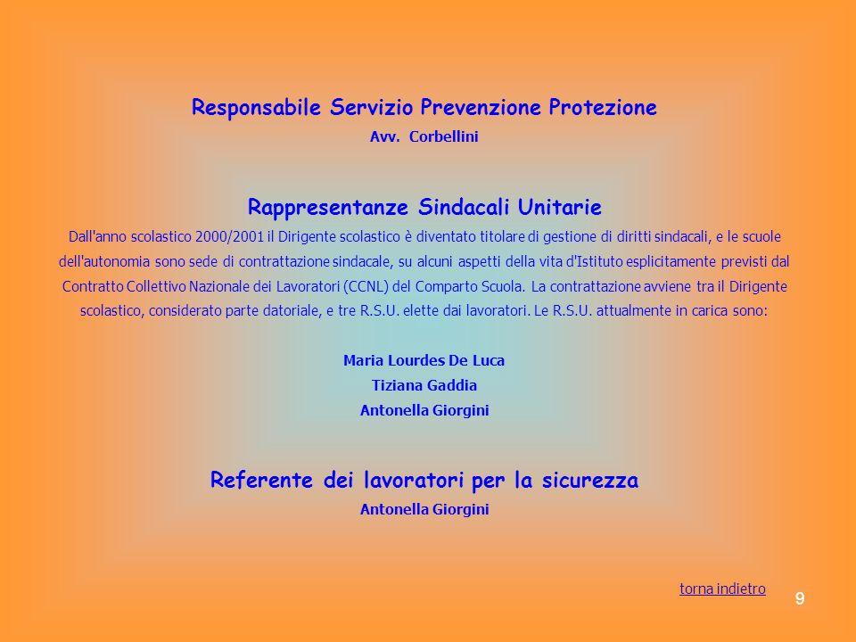 9 Responsabile Servizio Prevenzione Protezione Avv. Corbellini Rappresentanze Sindacali Unitarie Dall'anno scolastico 2000/2001 il Dirigente scolastic