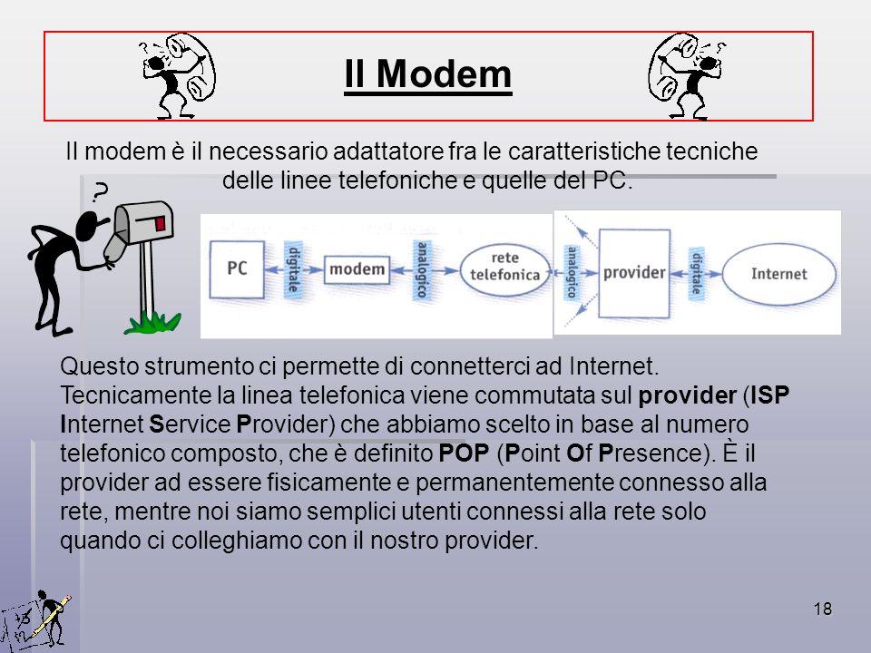 18 Il modem è il necessario adattatore fra le caratteristiche tecniche delle linee telefoniche e quelle del PC. Questo strumento ci permette di connet