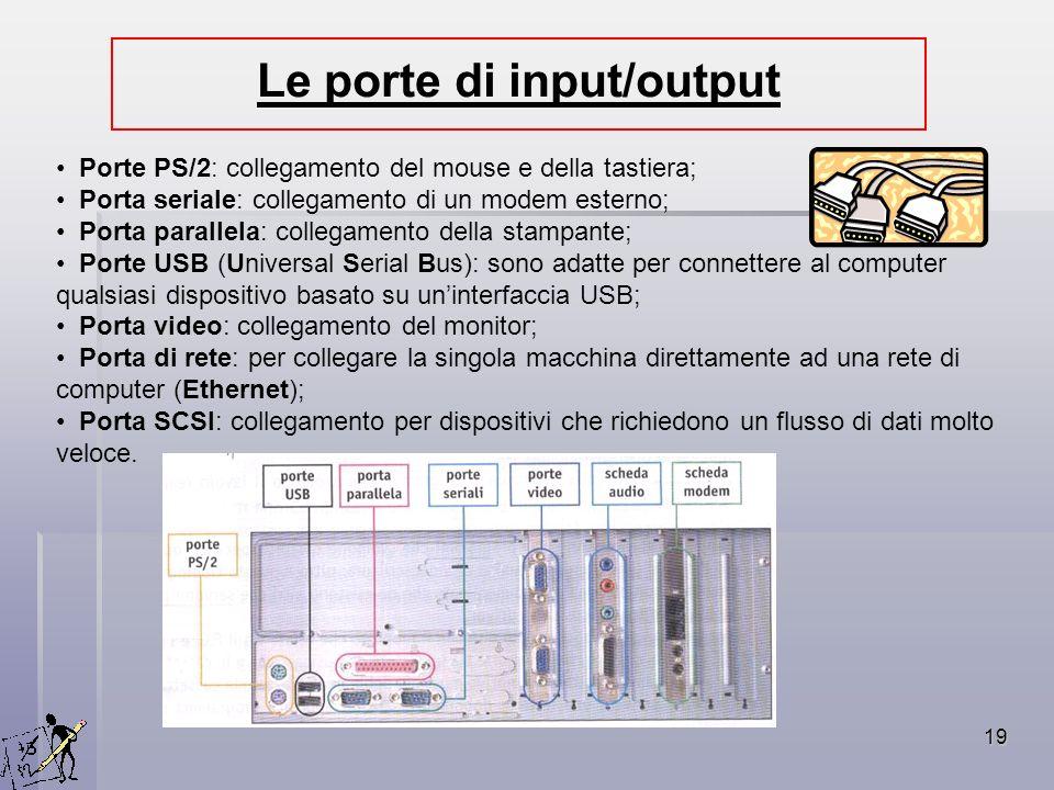 19 Porte PS/2: collegamento del mouse e della tastiera; Porta seriale: collegamento di un modem esterno; Porta parallela: collegamento della stampante