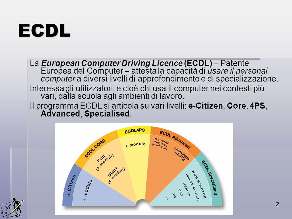 2 ECDL La European Computer Driving Licence (ECDL) – Patente Europea del Computer – attesta la capacità di usare il personal computer a diversi livell
