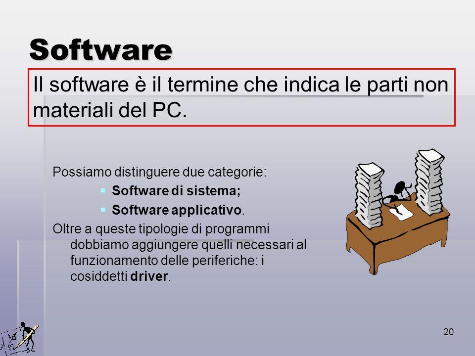 20 Software Possiamo distinguere due categorie: Software di sistema; Software applicativo. Oltre a queste tipologie di programmi dobbiamo aggiungere q