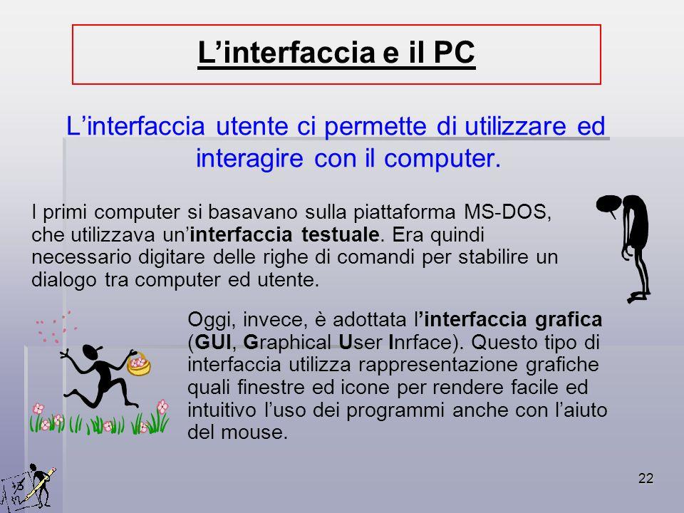 22 Linterfaccia utente ci permette di utilizzare ed interagire con il computer. Linterfaccia e il PC I primi computer si basavano sulla piattaforma MS