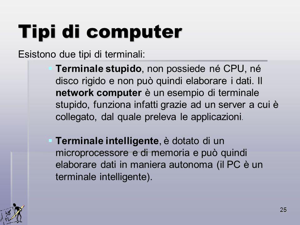 25 Tipi di computer Esistono due tipi di terminali: Terminale stupido, non possiede né CPU, né disco rigido e non può quindi elaborare i dati. Il netw