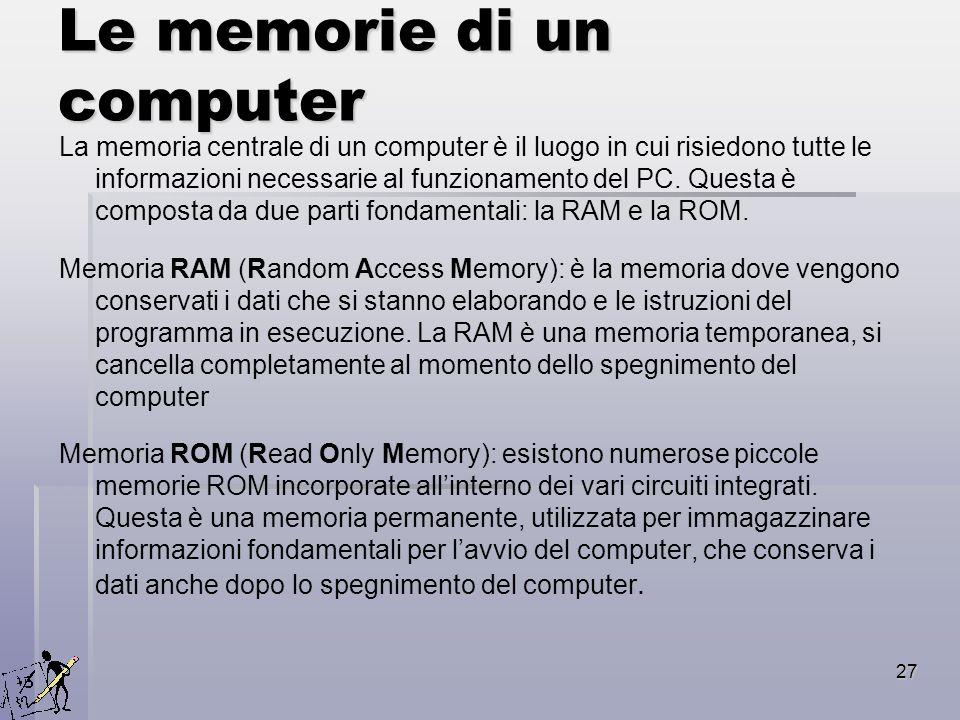 27 Le memorie di un computer La memoria centrale di un computer è il luogo in cui risiedono tutte le informazioni necessarie al funzionamento del PC.