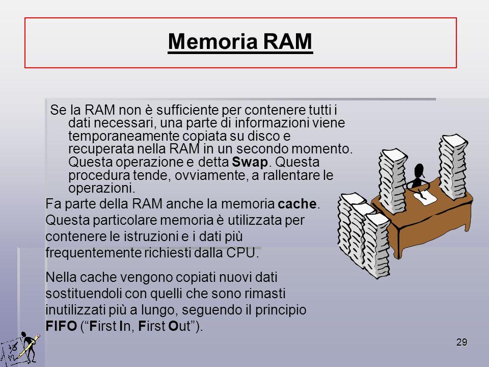 29 Se la RAM non è sufficiente per contenere tutti i dati necessari, una parte di informazioni viene temporaneamente copiata su disco e recuperata nel