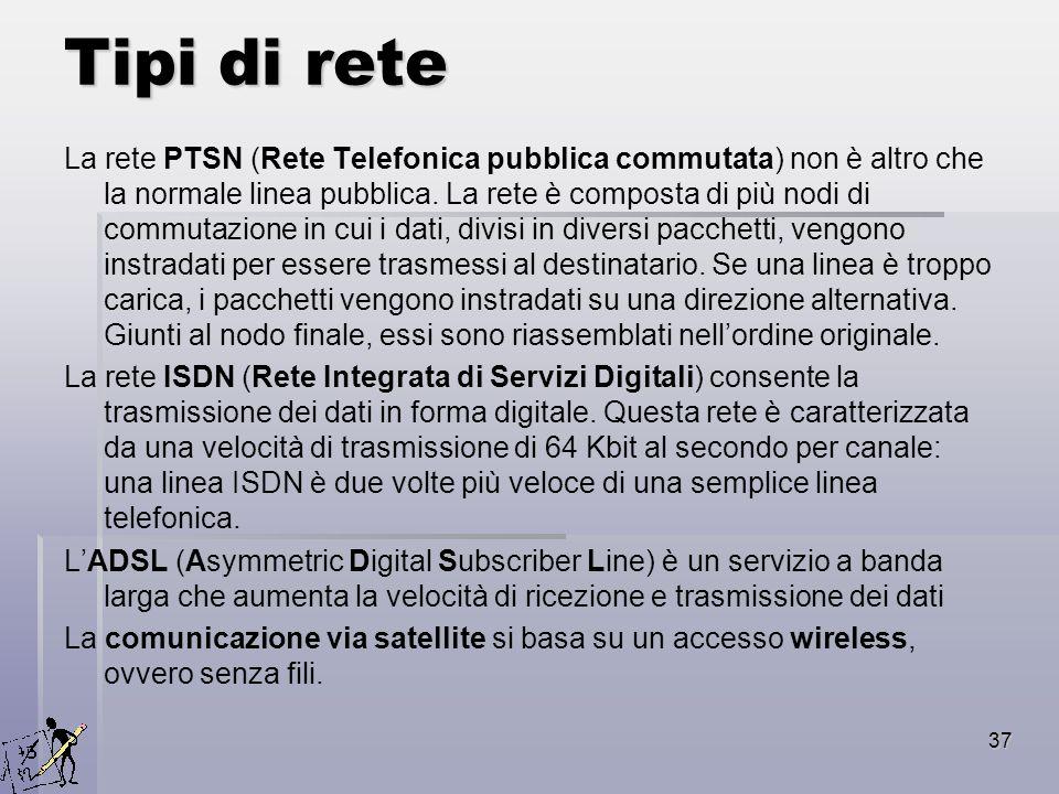 37 Tipi di rete La rete PTSN (Rete Telefonica pubblica commutata) non è altro che la normale linea pubblica. La rete è composta di più nodi di commuta
