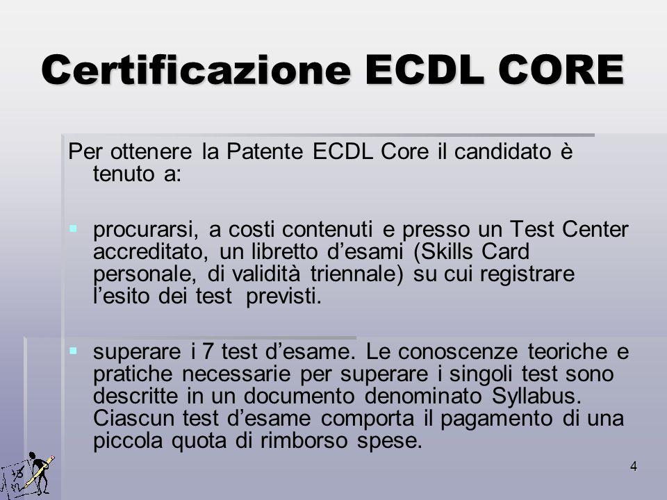 4 Certificazione ECDL CORE Per ottenere la Patente ECDL Core il candidato è tenuto a: procurarsi, a costi contenuti e presso un Test Center accreditat