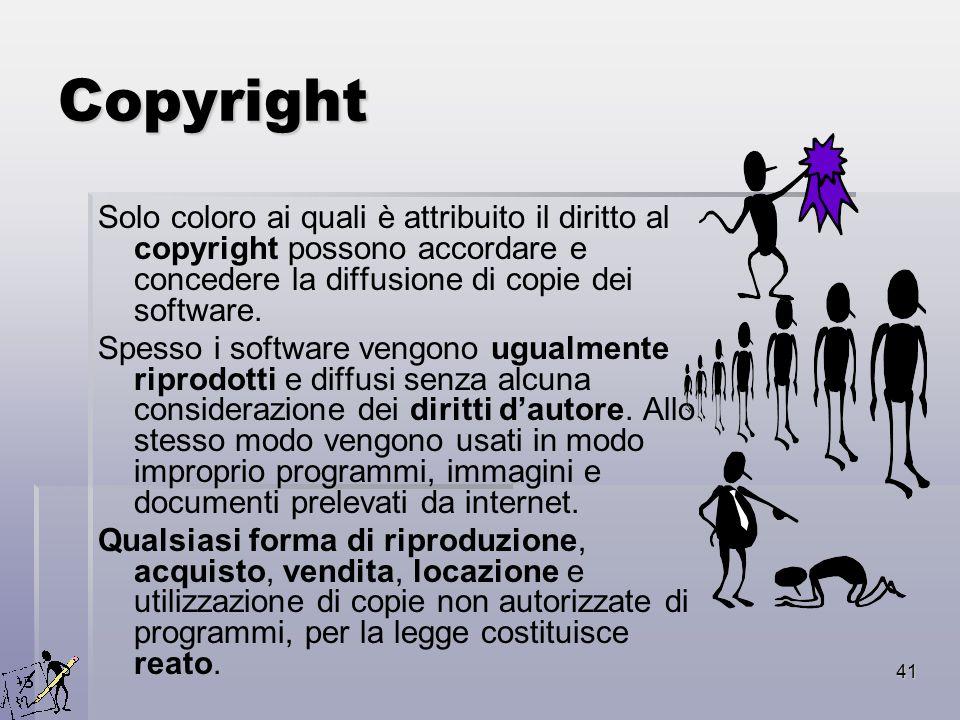 41 Copyright Solo coloro ai quali è attribuito il diritto al copyright possono accordare e concedere la diffusione di copie dei software. Spesso i sof