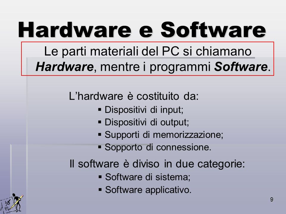 20 Software Possiamo distinguere due categorie: Software di sistema; Software applicativo.