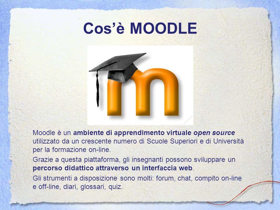 Cosè MOODLE Moodle è un ambiente di apprendimento virtuale open source utilizzato da un crescente numero di Scuole Superiori e di Università per la fo