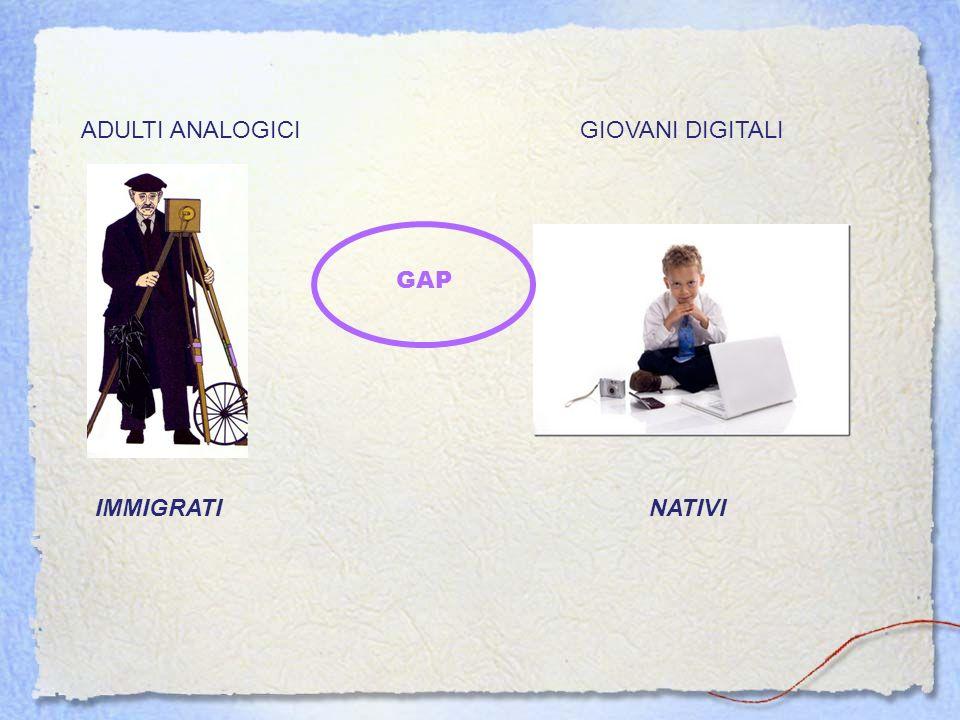 ADULTI ANALOGICIGIOVANI DIGITALI IMMIGRATINATIVI GAP