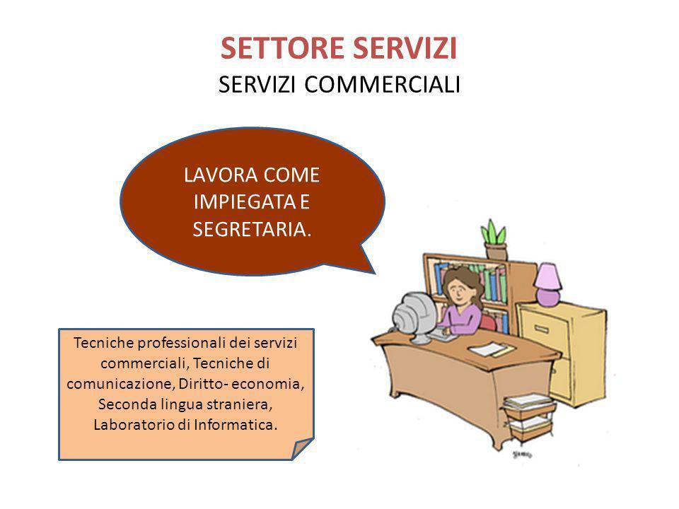 SETTORE SERVIZI SERVIZI COMMERCIALI Tecniche professionali dei servizi commerciali, Tecniche di comunicazione, Diritto- economia, Seconda lingua stran
