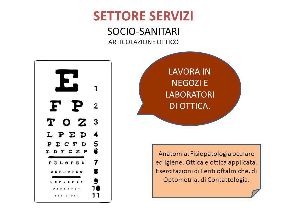 SETTORE SERVIZI SOCIO-SANITARI ARTICOLAZIONE OTTICO LAVORA IN NEGOZI E LABORATORI DI OTTICA. Anatomia, Fisiopatologia oculare ed igiene, Ottica e otti