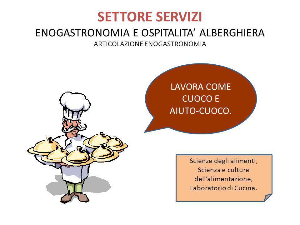 SETTORE SERVIZI ENOGASTRONOMIA E OSPITALITA ALBERGHIERA ARTICOLAZIONE ENOGASTRONOMIA LAVORA COME CUOCO E AIUTO-CUOCO. Scienze degli alimenti, Scienza