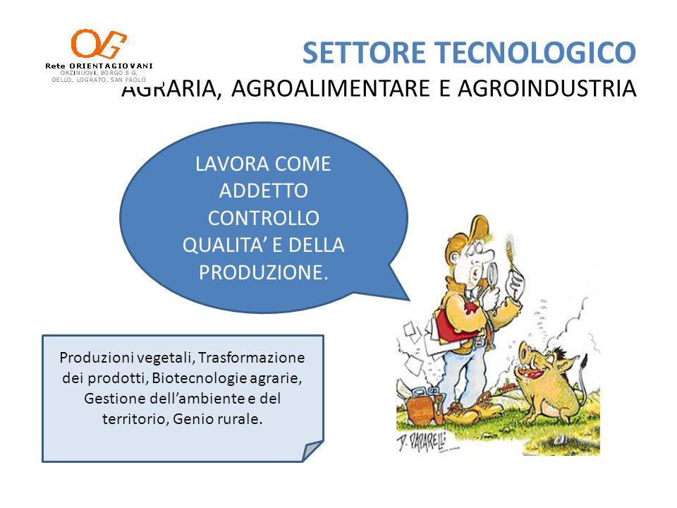 SETTORE TECNOLOGICO AGRARIA, AGROALIMENTARE E AGROINDUSTRIA LAVORA COME ADDETTO CONTROLLO QUALITA E DELLA PRODUZIONE. Produzioni vegetali, Trasformazi