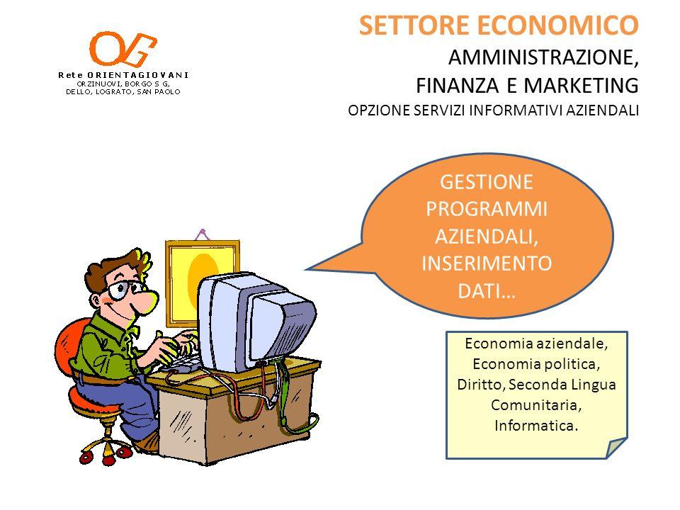 SETTORE ECONOMICO AMMINISTRAZIONE, FINANZA E MARKETING OPZIONE SERVIZI INFORMATIVI AZIENDALI GESTIONE PROGRAMMI AZIENDALI, INSERIMENTO DATI… Economia