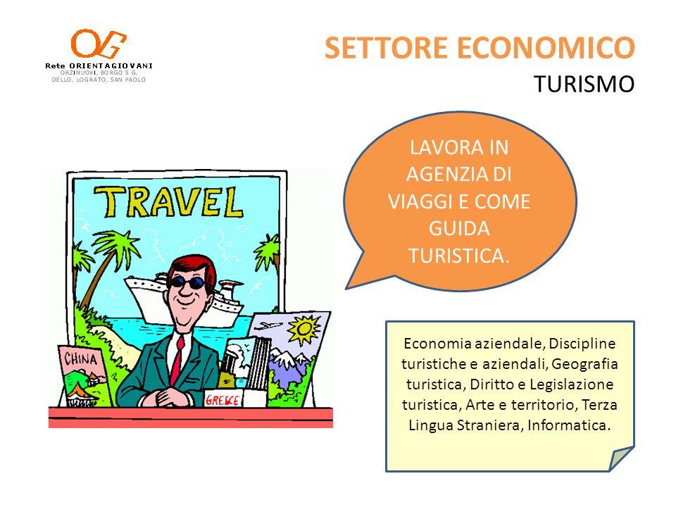 SETTORE ECONOMICO TURISMO Economia aziendale, Discipline turistiche e aziendali, Geografia turistica, Diritto e Legislazione turistica, Arte e territo