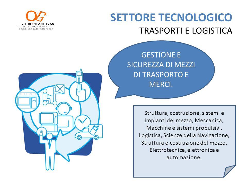 SETTORE TECNOLOGICO TRASPORTI E LOGISTICA LOGISTICA GESTIONE MERCI, MEZZI DI TRASPORTO E FLUSSI PASSEGGERI.