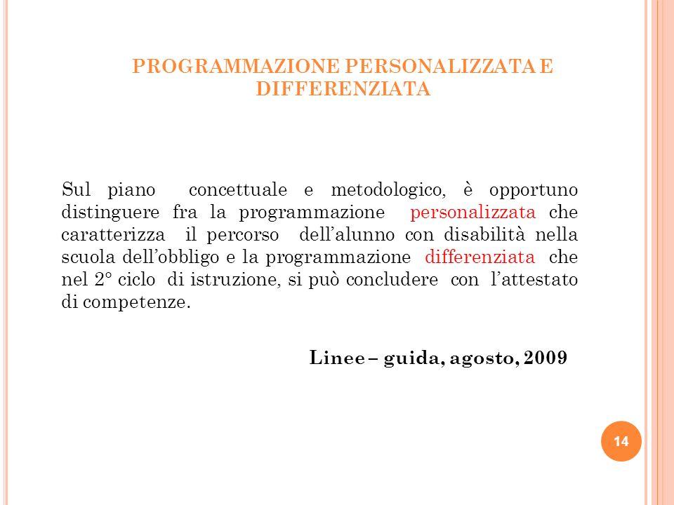PROGRAMMAZIONE PERSONALIZZATA E DIFFERENZIATA Sul piano concettuale e metodologico, è opportuno distinguere fra la programmazione personalizzata che c