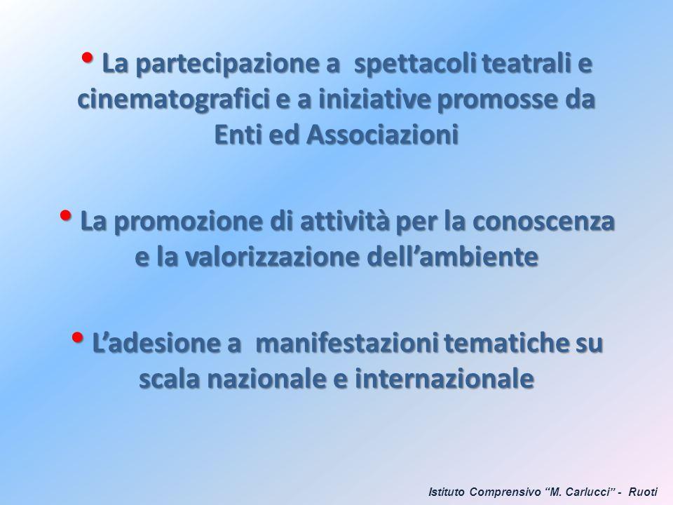 La partecipazione a spettacoli teatrali e cinematografici e a iniziative promosse da Enti ed Associazioni La partecipazione a spettacoli teatrali e ci