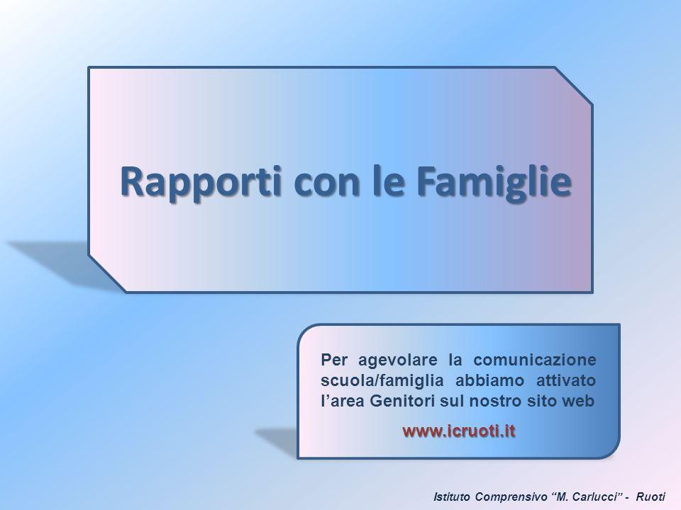 Rapporti con le Famiglie Per agevolare la comunicazione scuola/famiglia abbiamo attivato larea Genitori sul nostro sito webwww.icruoti.it Istituto Com