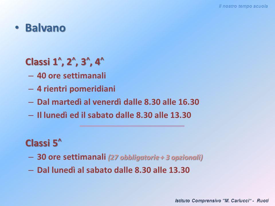 Balvano Balvano Classi 1 ^, 2 ^, 3 ^, 4 ^ – 40 ore settimanali – 4 rientri pomeridiani – Dal martedì al venerdì dalle 8.30 alle 16.30 – Il lunedì ed i