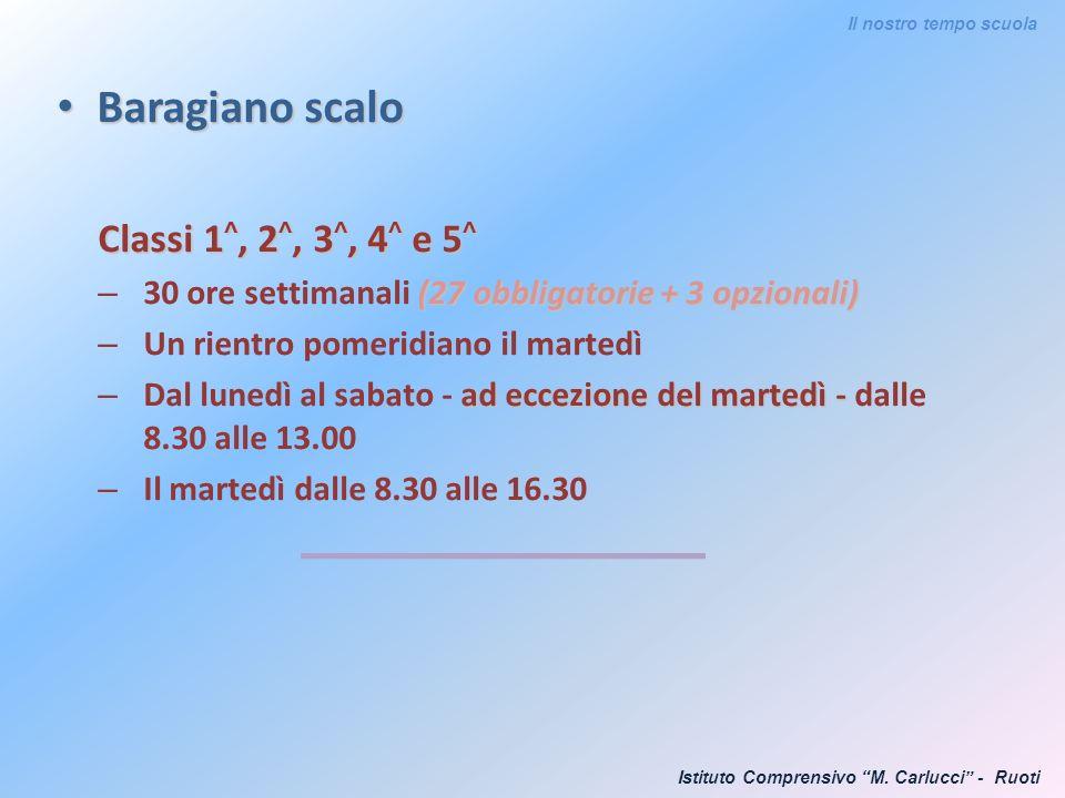 Baragiano scalo Baragiano scalo Classi 1 ^, 2 ^, 3 ^, 4 ^ e 5 ^ (27 obbligatorie + 3 opzionali) – 30 ore settimanali (27 obbligatorie + 3 opzionali) –