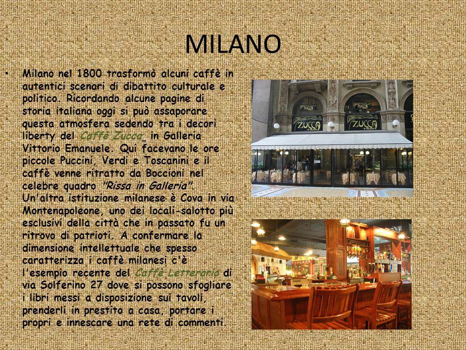 MILANO Milano nel 1800 trasformò alcuni caffè in autentici scenari di dibattito culturale e politico. Ricordando alcune pagine di storia italiana oggi