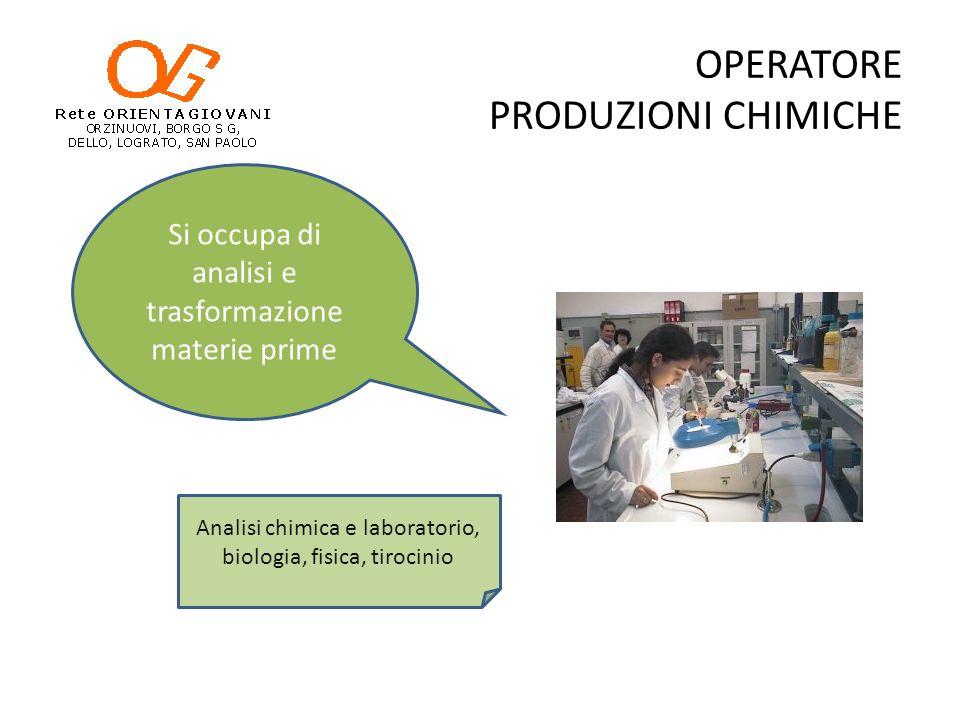OPERATORE PRODUZIONI CHIMICHE Si occupa di analisi e trasformazione materie prime Analisi chimica e laboratorio, biologia, fisica, tirocinio