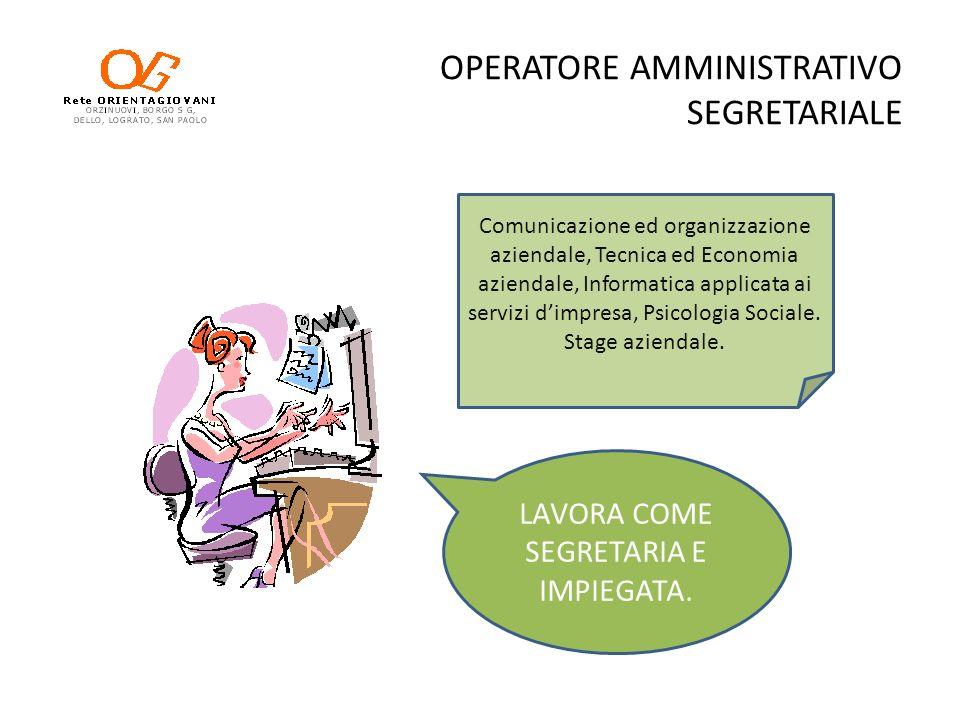 OPERATORE AMMINISTRATIVO SEGRETARIALE LAVORA COME SEGRETARIA E IMPIEGATA. Comunicazione ed organizzazione aziendale, Tecnica ed Economia aziendale, In