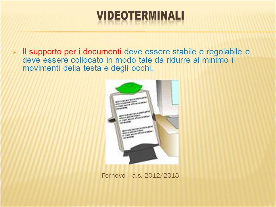 Il supporto per i documenti deve essere stabile e regolabile e deve essere collocato in modo tale da ridurre al minimo i movimenti della testa e degli occhi.
